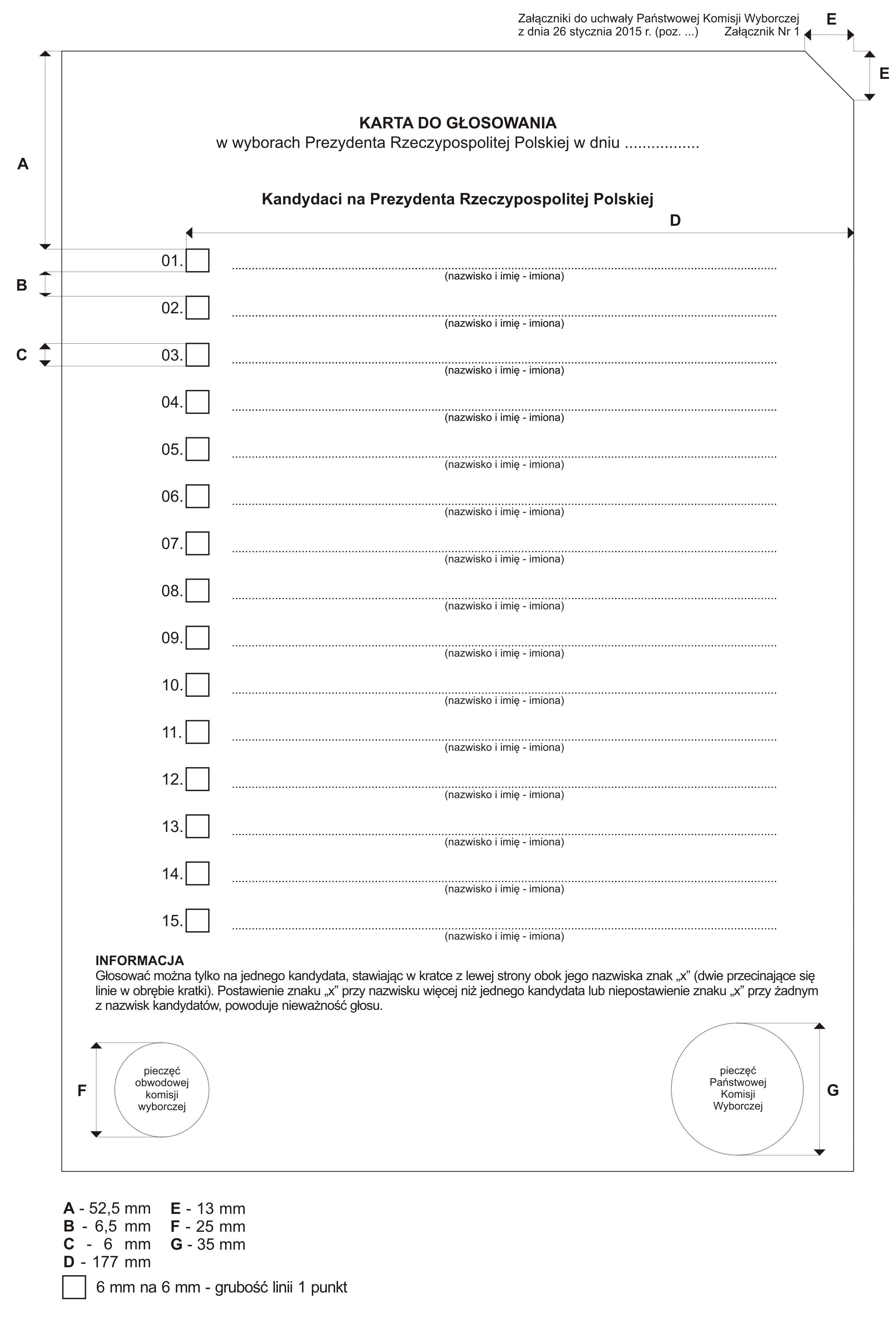 Wzór karty wyborczej